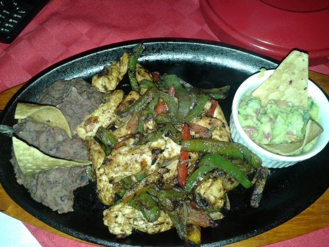 Chicken Fajita - IO's meal. The only thing that had ingredients that she doesn't have beef with - PUN INTENDED! She finished her meal, which is a great compliment to any chef!