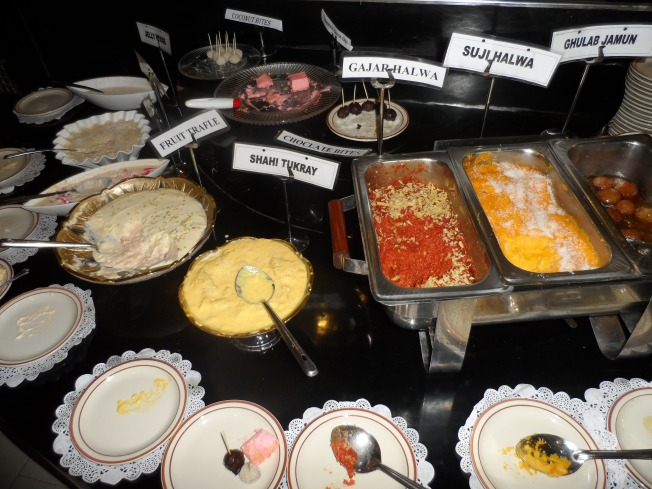 The crazy dessert table. Too many desserts and no explanation about the contents of most of the food......