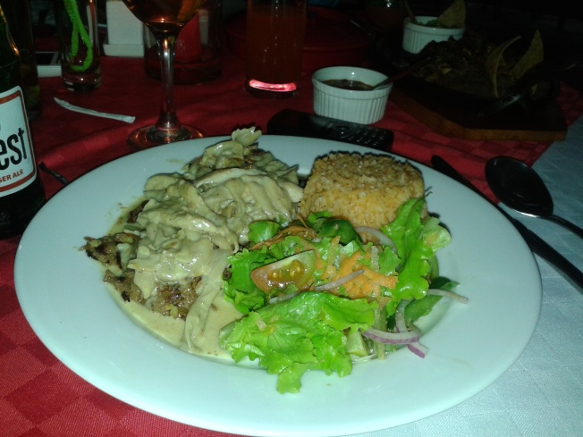 Steak with Mushroom and Tequila Cream Sauce - Nas's meal. She enjoyed her meal, lucky girl. And her meal didn't have beans!