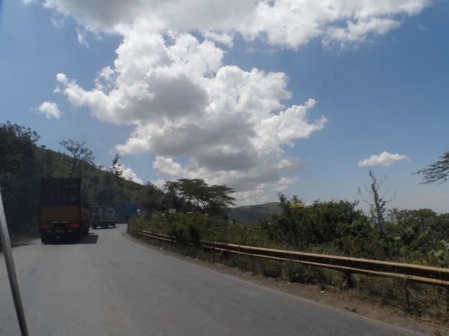 We were stuck behind a couple of trailers on the Mai Mahiu road.....