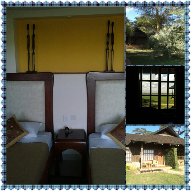 A collage of the room at the lodge