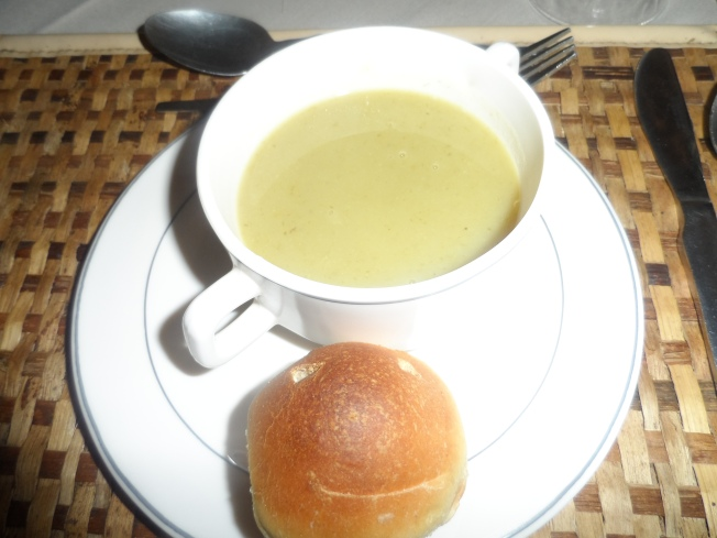 First course. Soup and smiley bun. This is the only food photo I took during the entire trip!!!