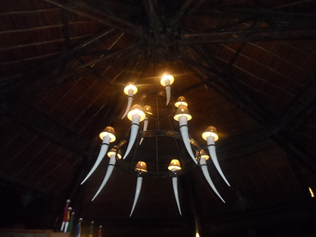 Chandelier in the corridor at the lodge