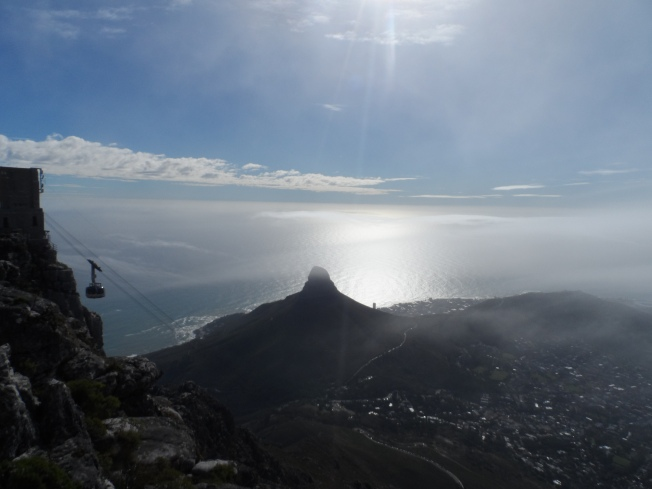 View from the top of Table Mountain. With a cable car about to 'dock' at the upper station.
