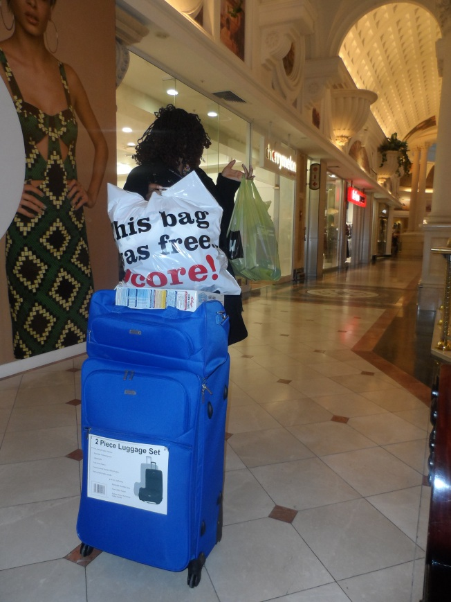 When you are a real soppaholic, you know how to shop. There's no for dragging paperbags with you. You purchase a suitcase and keep on stuffing it till it gets full. God forbid if it gets full too early, you go home, unpack, then go back to shop! :-)
