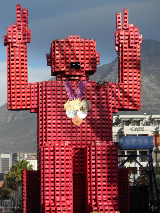 How creative are some people! This huge sculpture was made out of Coca Cola crates!!