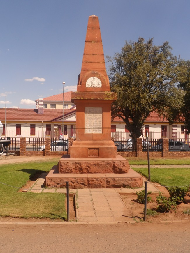 A monument with details of the soldiers who were killed during the Mafikeng siege