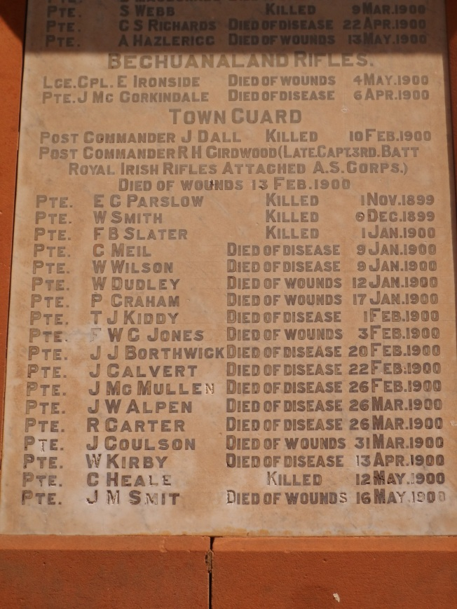 Details of some of the soldiers whose names are on the monument