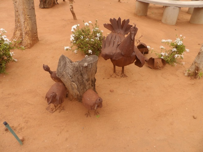 Cute chicken sculptures at the Gaborone museum
