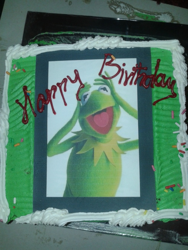 Kermit screams happy birthday - my birthday cake!