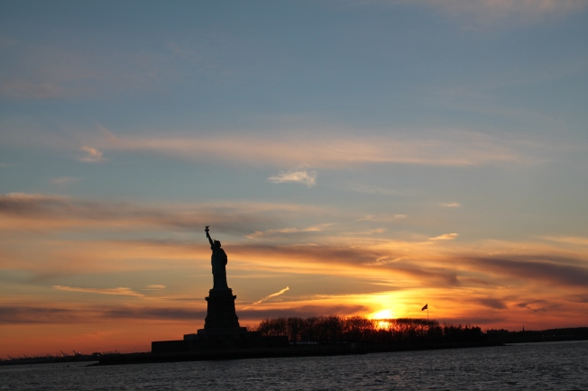 It was too cold to take better photos of Lady Liberty in the sunset