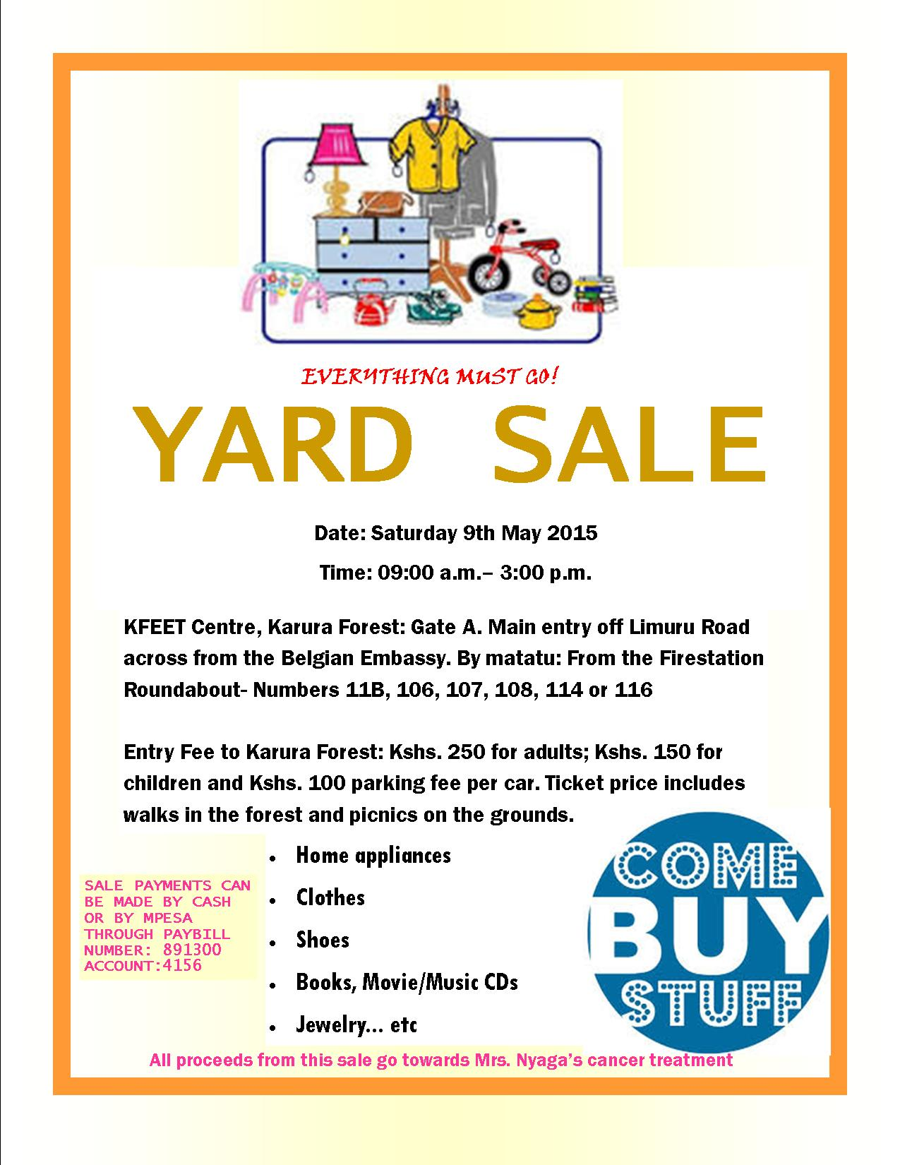 Yard Sale Invite – 9th May 2015 at Karura Forest (KEFET ...