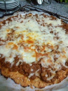 Cauliflower Crust Meat Pizza made on 30th Dec 2016